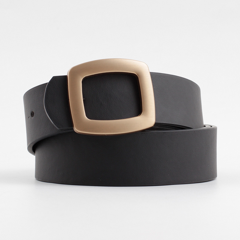 2020 Wide Leather Waist Strap Belt Women Black White Pink high quality Gold Square Pin Metal Buckle belts Female Belts for Jeans