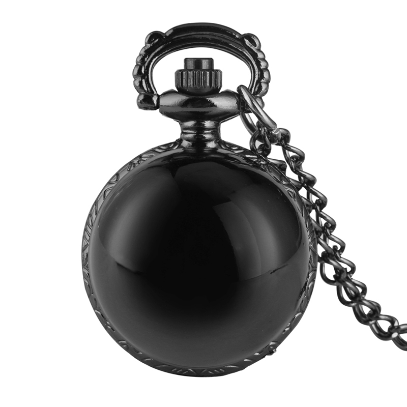 Unique Black Fashion Silver Steampunk Smooth Ball Shaped Quartz Pocket Watch Sweater Necklace Pendant Chain Men's Women's Gifts