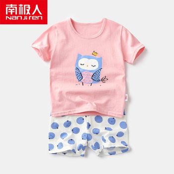 NANJIREN Summer Children Pajamas Sets Shorts Sleep Shirt Set Baby Girls Clothes Blue Bird Pajama Sets Cotton Children's Pajamas