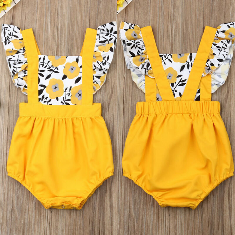 2020 Sweet Newborn Baby Girl Ruffle Floral Sunsuit Playsuit Jumpsuit Romper Clothes Baby Clothing