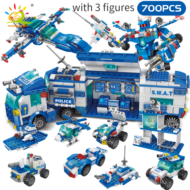 HUIQIBAO 700PCS 8in1 City Police Command Trucks Building Blocks Policeman Robot Car Helicopter model bricks Toys for Children