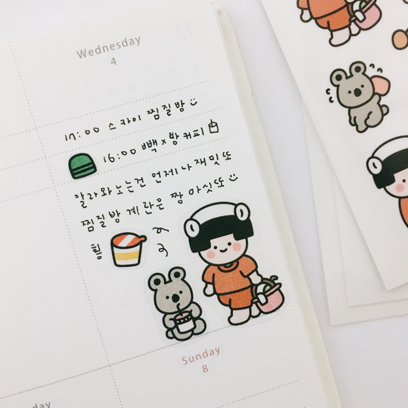 Купить с кэшбэком Ins Hot Cute Comic Children Transparent Stickers Calendar Photo Album Cartoon Decoration DIY Sticker Korean Popular Stationery