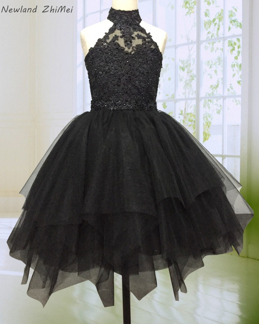 Newland ZhiMei Stunning Black Flower Girl Dress 2020 High Neck Backless Beaded Lace Tulle Ball Gown Girl Party Gown Dresses