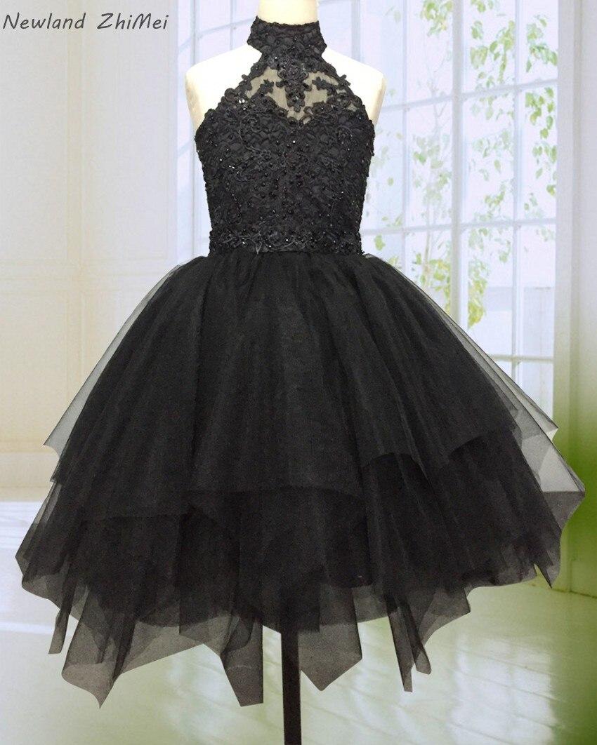 Newland ZhiMei superbe noir fleur fille robe 2020 col haut dos nu perlé dentelle Tulle robe de bal fille robe de soirée robes