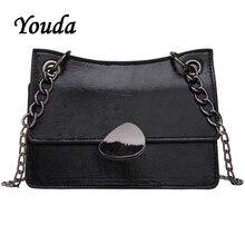 купить Youda Summer Fashion Sweet Shoulder Bag Simple Original Classic Messenger Bags Retro Chain Strap Solid Color Crossbody Tote дешево