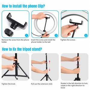 Image 4 - 26cm Selfie טבעת אור Dimmable 130cm חצובה Stand טלפון סלולרי מחזיק Led המצלמה Ringlight עבור איפור YouTube וידאו צילום