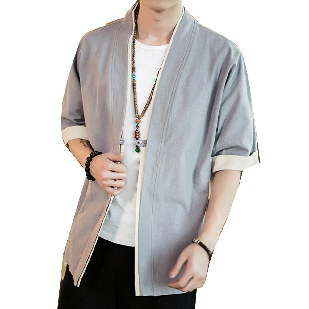 Plus Size Fashion Men Color Block Short Sleeve Button Loose Kimono Blouse Coat Suitable For Daily Wear Sports Work Holiday Gifts