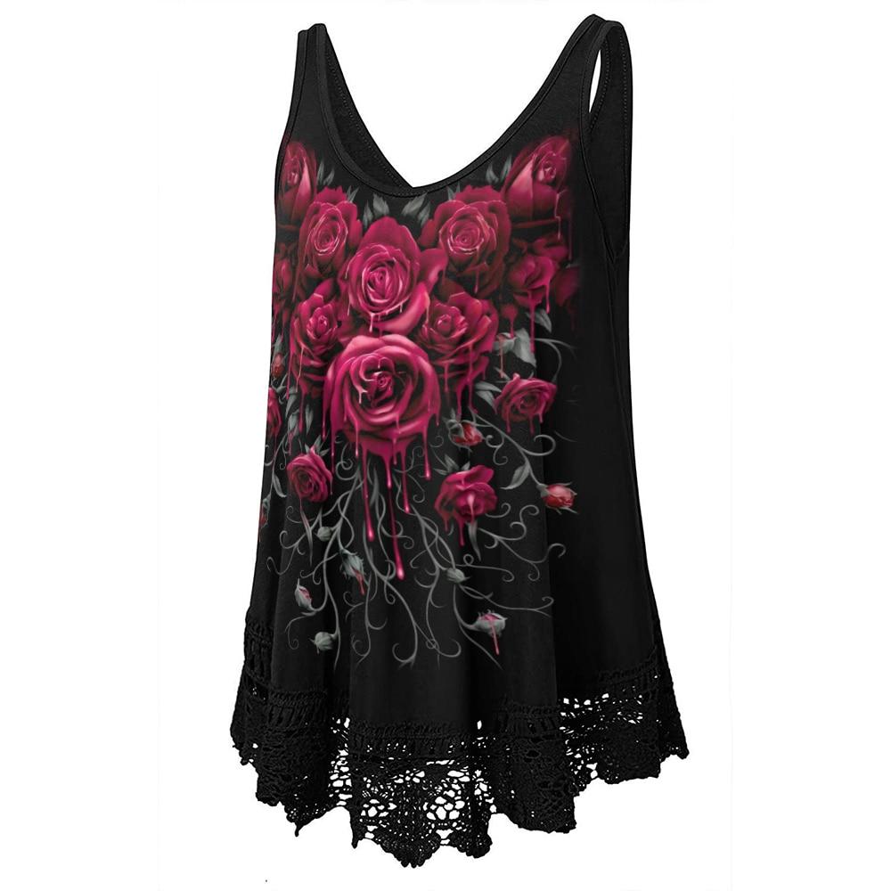 Clothing Sleeveless Vest T Shirt Dark Rose Floral  2