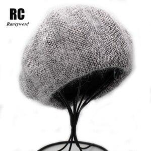 Image 1 - [Rancyword]  Fashion New Women Angora rabbit Solid Color Beret Female Bonnet Caps Winter All Matched Warm Walking Hat Beanie Hat