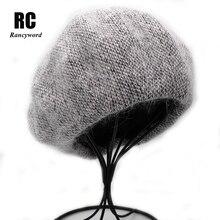 [Rancyword] جديد إمرأة أنجورا أرنب بلون قبعة الإناث بونيه قبعات الشتاء جميع مطابقة الدافئة المشي قبعة قبعة صغيرة