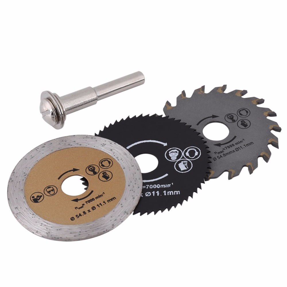 3pcs Circular 54.8mm High Speed Steel Mini Wood Circular Cutting Blade Rotary Tool+Mandrel