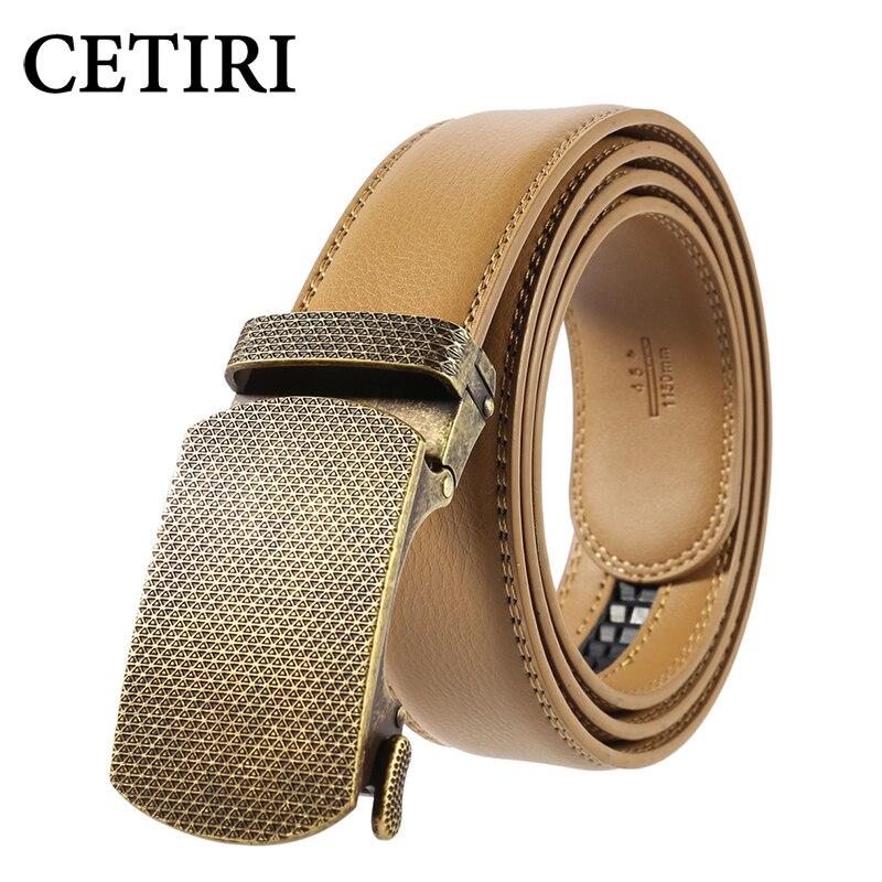 CETIRI Retro 3.5cm Metal Automatic Buckle Belts Luxury Genuine Leather Belts For Men Ceinture Homme Cinto Masculino