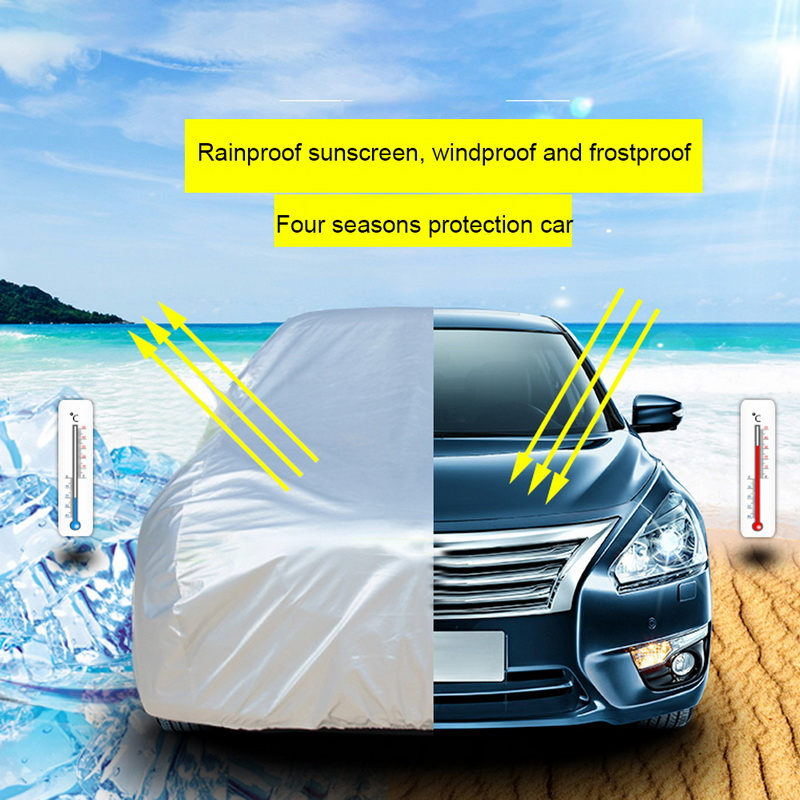 TOSPRA Universal Full Car Covers Snow Ice Dust Sun UV Shade Cover Light Silver Auto Outdoor Protector Covers Dust Rain Resistant