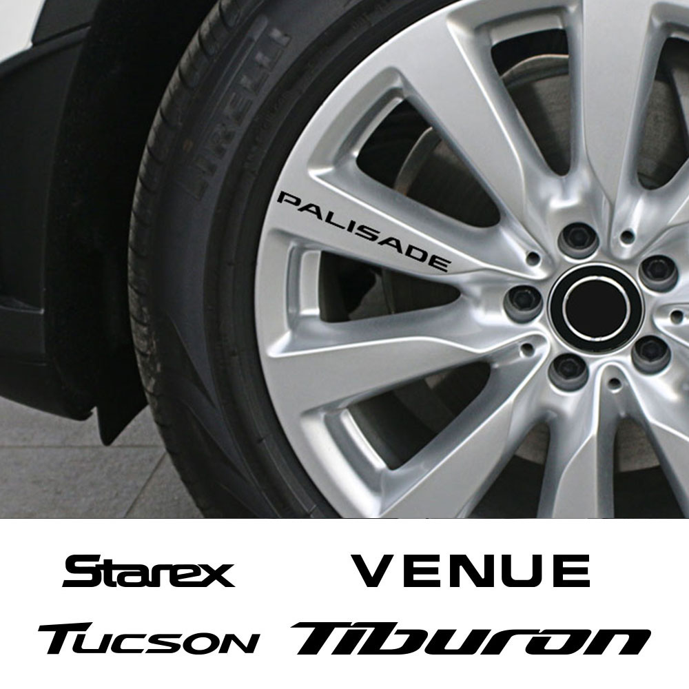 4pcs Car Wheel Rim Vinyl Stickers For Hyundai Getz GRANDEUR NEXO PALISADE STAREX TIBURON Tucson VENUE  Auto Accessories