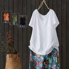 T-shirt à manches courtes et col en v pour femmes, 2020 coton, Vintage, tout assorti, décontracté M78, grande taille
