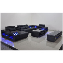 Living room furniture leather sofa with LED light and music player,USB charger(China)