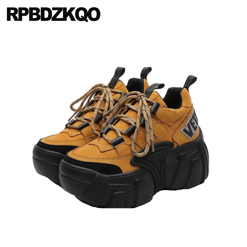 thick sole black chinese suede women genuine leather harajuku elevator creepers platform shoes lace up muffin custom yellow