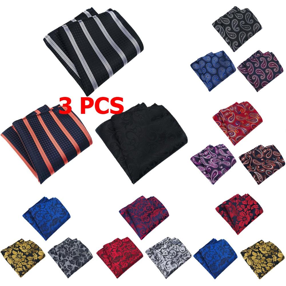 3 PCS Men Fashion Paisley Flower Pocket Square Handkerchief Wedding Party Hanky