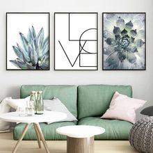 Маленькое свежее растение из алоэ в скандинавском стиле постеры