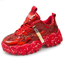 True Chunky Sneakers 2020 New Arrival Bling PU White Shoes Woman Sneakers Sequin