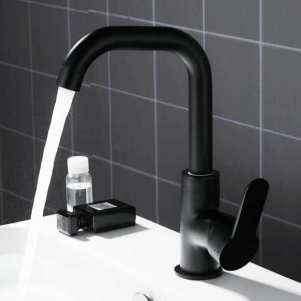 Black Kitchen Tap Single Lever Bathroom Basin Sink Faucet Mixer Tap