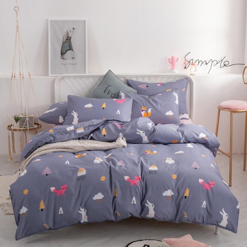 JIWEINA-MINNA 2019 Simplicity Bed Sheet Fashion Bedding Set Pure Cotton A/B Double-sided Pattern Quilt Cover Pillowcase 4-7pcs