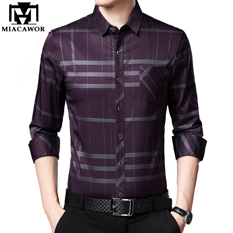 MIACAWOR New Spring Long Sleeve Men Shirts Plaid Casual Shirts Slim Fit Camisa Masculina Streetwear Brand Men Clothing C587