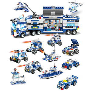 Image 2 - 762PCS City Police Series Building Blocks 8 in 1 Vehicle Helicopter City Police Station Compatible DIY Bricks Blocks Toys Kids
