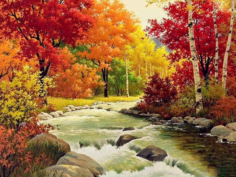 Полноразмерная Алмазная картина 5D «сделай сам», вышивка крестиком, Осенний пейзаж, 3D Алмазная мозаика, круглые картины стразы, вышивка, пейз...