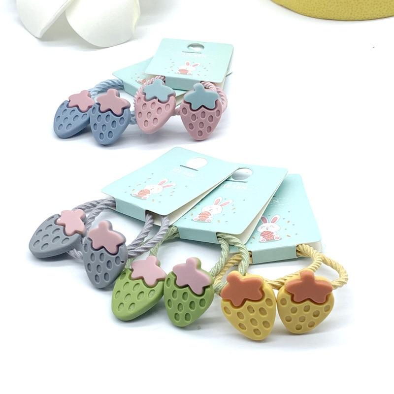 Girls Cute Cartoon Candy Color Fruit Elastic Hair Bands Scrunchies Ponytail Holder Headbands For Kids Children Hair Accessories