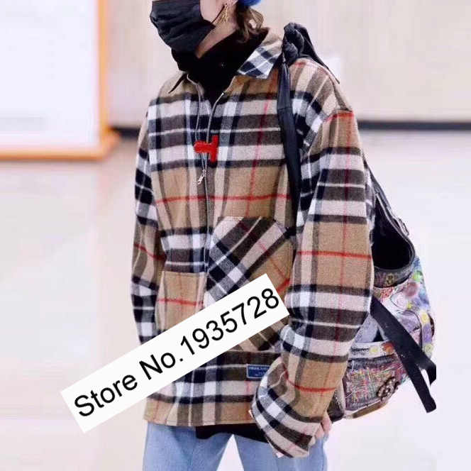 Yidora Women CamelBlue Contrast Color Plaid Wool Blend Long Sleeve Jacket Top New Ladies Woolen Gingham Checkered Outerwear