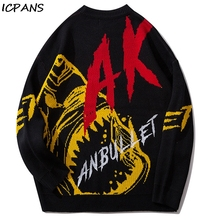 ICPANS Harajuku Knitted Pullover Sweaters Men Print Letter Hip Hop Patchwork Streetwear 2019 Male Fashion O-Neck Sweater