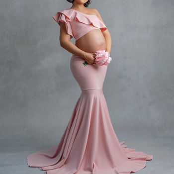 Maternity mermaid tail Skirt Set For Photography one shoulder Ruffles crop top Pregnancy Photography Props trumpet Skirt set D30 s m l xl maternity dress for photo shoot maxi maternity gown split front maternity chiffon gown sexy maternity photography props