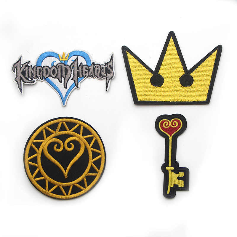 Kingdom Hearts Embroidered Iron On Patches Badges Patchwork Sewing Applique pour Jeans Backpack Badges stickers E0131