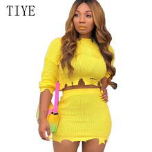 TIYE Sexy Knitted Bodycon Two Pieces Sets Mini Dress Women O-neck Hollow Out Short Elegant Female Party Casual Dresses