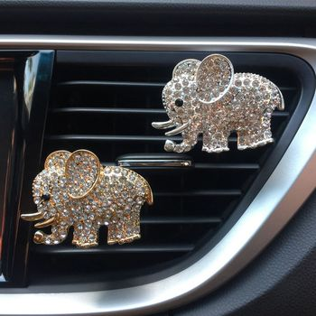 Car Artificial Diamond Crystal Elephant Solid Fragrance Auto Air Outlet Perfume Clip Car Air Freshener Car Interior Accessories image