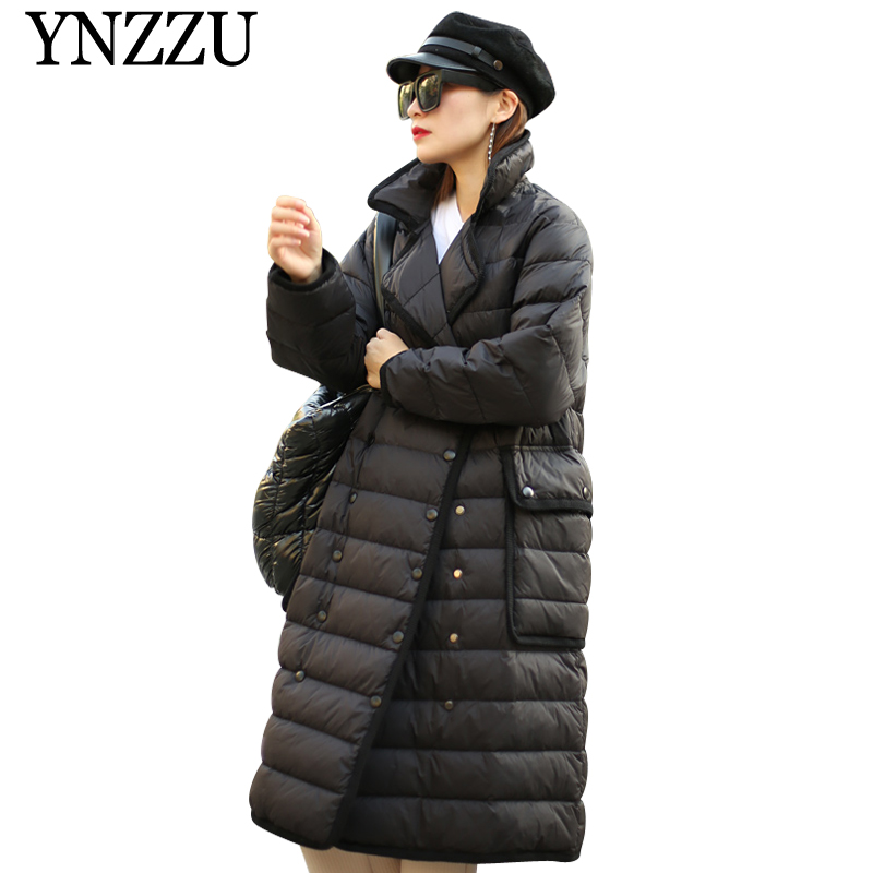 YNZZU New arrival Turn   down   collar Women   Down     Coat   2019 Winter Buttons Pockets Long Outwear Warm Casual Black   Down   Jacket YO892