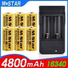 Bateria recarregável 4800 v li-ion 3.7 16340 mah, bateria cr123a para lanterna led carregador de parede de 16340 cr123a