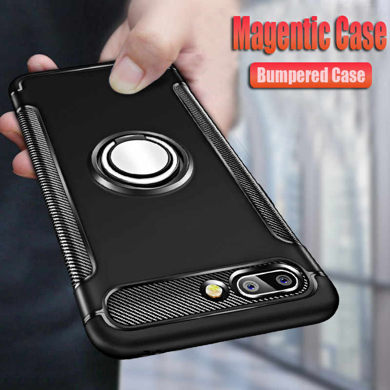 Luxury Magentic Shockproof Silicone Case For Huawei Honor 10i 9 8 10 Lite 20 Pro 7c 7a Phone Cases Cover 8X Car Ring Soft Case