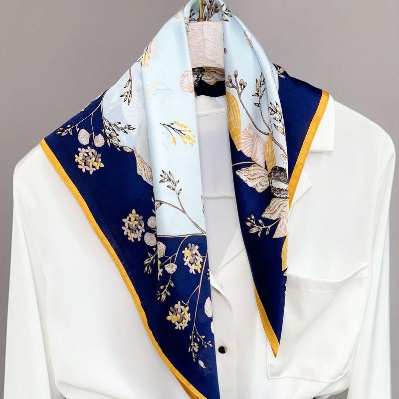 New 100% Natural Real Silk Neckerchief For Women Print Square Scarf 2020 Headscarf Pure Bandana Hijab Foulard Scarves Pashmina