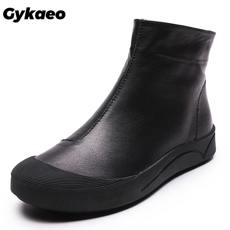 Gykaeo Balck White Female Genuine Leather <font><b>Boots</b></font> Mother Flat <font><b>Ankle</b></font> <font><b>Boots</b></font> <font><b>for</b></font> <font><b>Women</b></font> <font><b>Winter</b></font> Warm <font><b>Shoes</b></font> Botas Mujer Invierno 2019 image