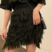 White Fringed Petal Skirt Womens 2019 Autumn New High Waist Korean  Streetwear Mini