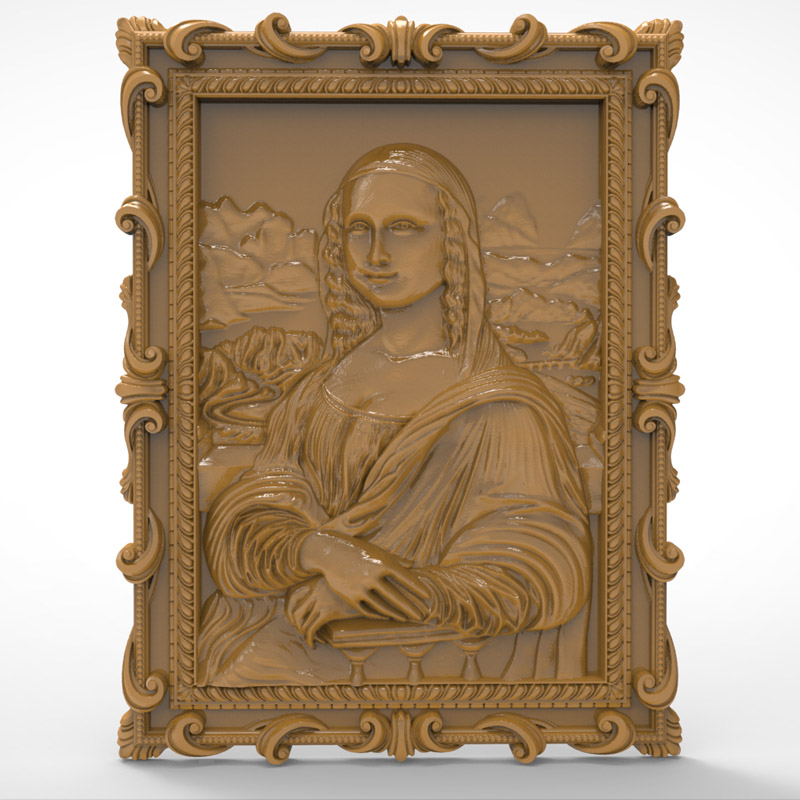 Mona Lisa Liza 3d Relief STL Format Model Used For Cnc Artcam Router Engraving Carving Design File