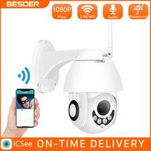 BESDER H.265 1080P WiFi kamera IP bezprzewodowa przewodowa PTZ zewnętrzna prędkość kopuła CCTV bezpieczeństwo kamera wideo App ICSee dwukierunkowy Audio ONVIF