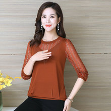 Spring Women Sequined Blouses Red Black Caramle Green Chic Chiffon Long Sleeve Tops Middle Aged Woman Casual Blouse Plus Size plus size cutout bell sleeve sequined blouse