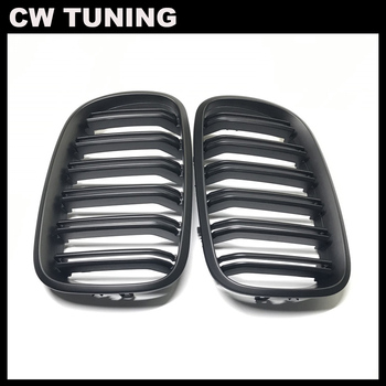 A Pair Matt Black Double Slat Kidney Grill Front Grill For BMW X5 X6 E70 E71 xDrive30i xDrive35d xDrive50i xDrive35i Car Styling image