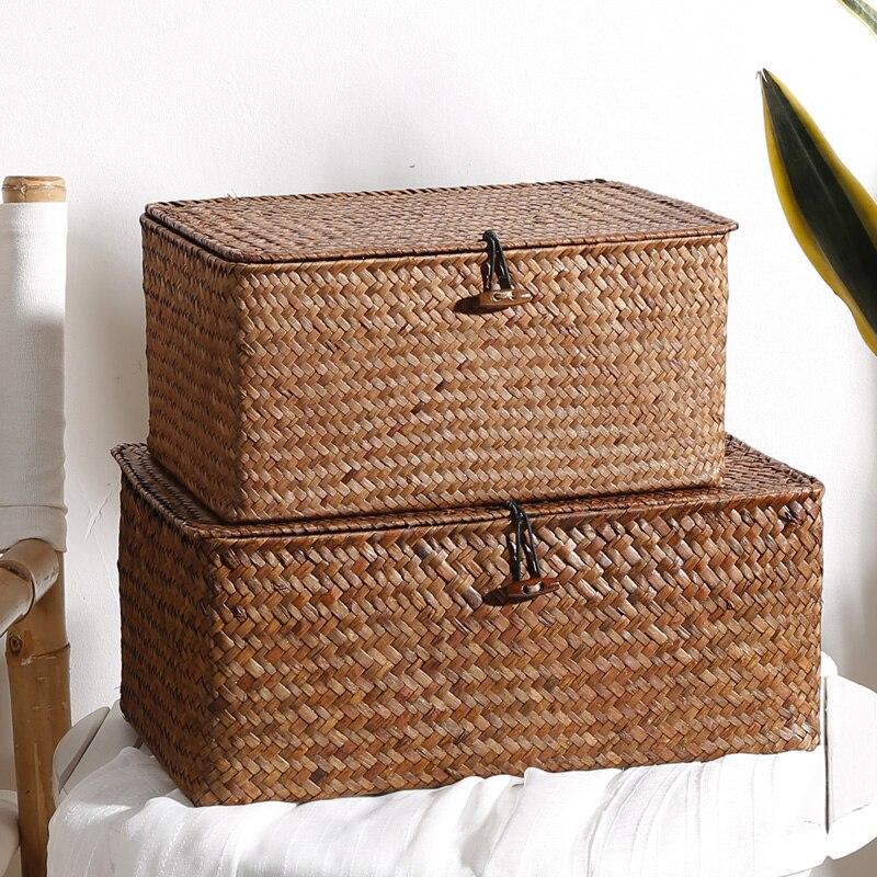 Handmade straw storage basket desktop debris covered rattan storage box home organization and storage woven basket ZP7181505
