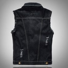 Fashion Mens Motorcycle Jean Vest Black Ripped Destroyed Washed Slim Fit Sleeveless Denim Jacket For Men Plus Size 6XL(China)