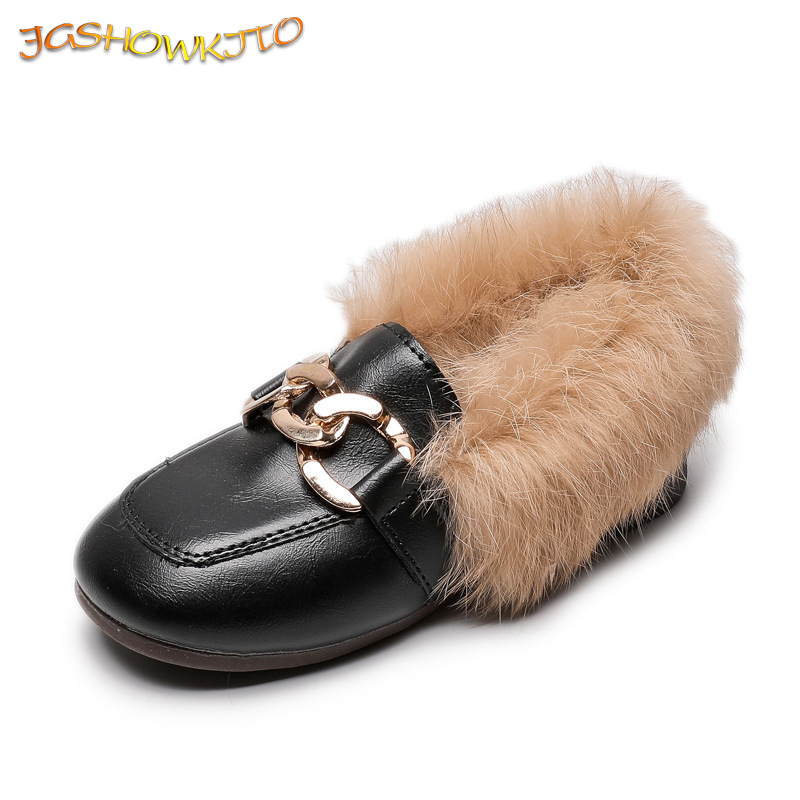 JGSHOWKITO Children's Winter Cotton Shoes Warm Plush Fluffy Fur Girls Flats Kids Loafers With Metal Chains Fashion Toddler Shoes