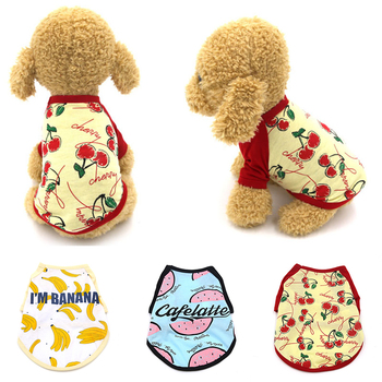 Fruit Printed Small Dog Vest Short Sleeves Pet Vest Watermelon Banana 2 Feet Fruit Dog Clothes Cotton Thin Soft Dog Cat Vest image